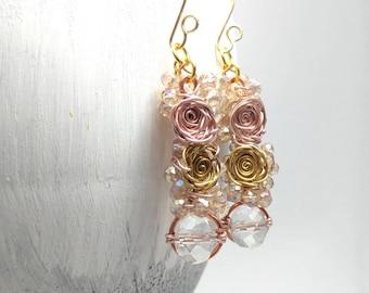Rose gold earrings, Mixed metal jewelry, Flower earrings, Gold wire wrapped earrings, Gift for her, Unique earrings, Gold sparkly earrings