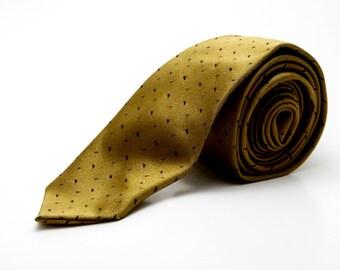 Vintage 1950s/60s Van Heusen 100% Silk Gold Spotted Tie - Skinny, Retro, Mid Century Necktie - Classic Mad Men Style - Wedding, Prom