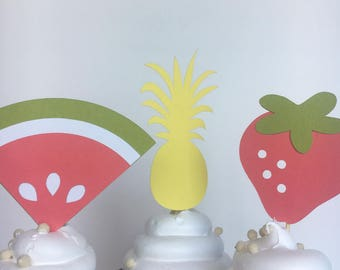Tutti Fruity Party Theme / Cupcake Toppers / Pineapple Decor / Watermelon / Strawberries / Picnic / Summer