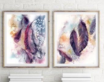 Feathers art prints set, Set of 2,  purple feathers watercolor painting, watercolor print, fine art print, home decor