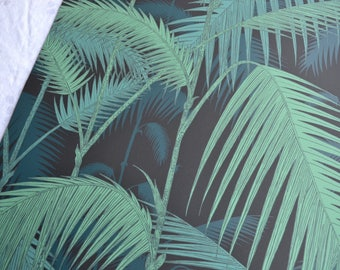Wallpaper - Cole and Son  Sample Sheet  - 19 x 17  Palm Jungle - Green Teal on Black