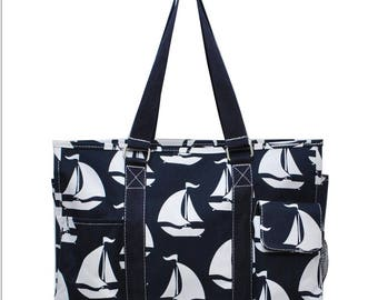 """Utility Tote, 19"""" or 16"""" Aqua/Anchor Utility Tote with Acc bag, 3 Day Shipping!!"""