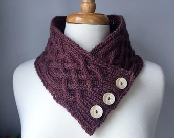 Knit Cabled Neck Warmer - Handmade Cowl