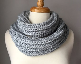 Knit Infinity Scarf - Frosty Gray Brioche Stitch - Handmade Cowl/Scarf