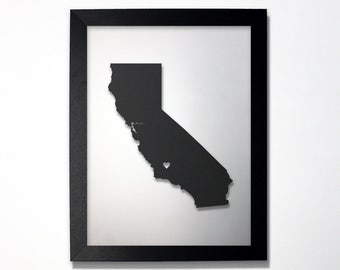 California Map / Laser Cut Map / California State Art / California Art / Framed State Map / California Gift / Wedding Gift / Anniversary