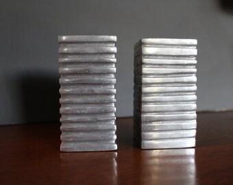 Midcentury Modern Aluminum Candlesticks, Industrial Candlesticks, Metal Mid-Century Candle Holders, Sculptural Cubist Candlesticks