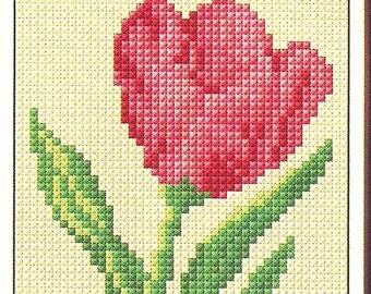 Tulip Cross Stitch Pattern, flower cross stitch pattern, spring flowers cross stitch, tulip flower pattern, easy to stitch, instant download