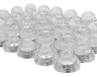 24 Pack - Translucent Large Magnetic Push Pins - Neodymium Fridge Magnets (Clear) - Large Push Pin Magnets - Refrigerator Magnets