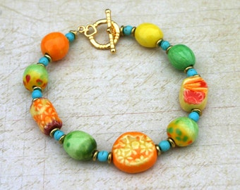 Wife colorful bracelet, gift for her, ceramic