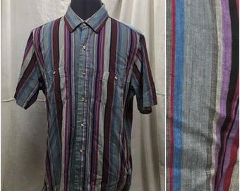Vintage Striped Shirt // 80s Short Sleeve Purple Magenta Black Stripes Men's Extra Large