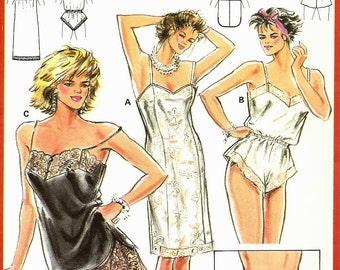 BURDA Pattern 6157 Sizes 8-22. Underwear. Lacy lingerie. Teddy, cami, slip, panties, bikini. Easy fit.  Easy sew. Seam allowances included.