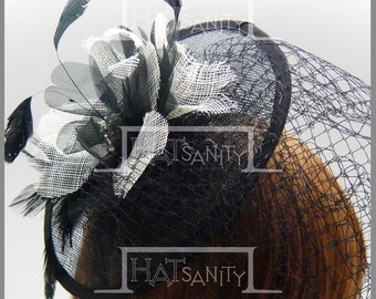 ELEGANT x WEDDING Sinamay Blossom Fascinator with Veil for Brides - Black