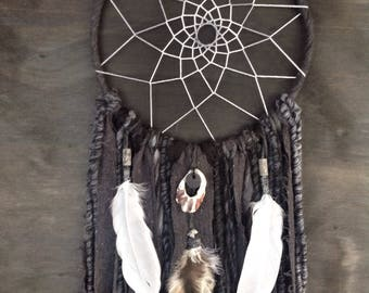 One of a kind; handmade and handdyed dreamcatcher 10inches round; 82cm long