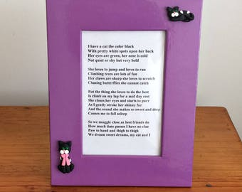 Original Poem About a Black Cat Framed with Black Cat Polymer Clay Figurines Attached