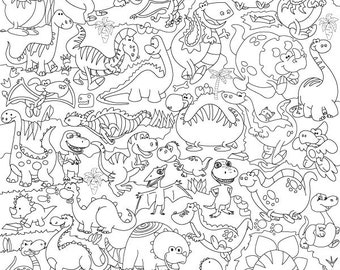 """Coloring poster """"Dinosaurs"""" size 60*60cm (1.97*1.97 ft)"""