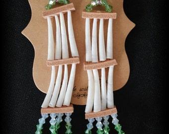Green Dentalium Shell Earrings