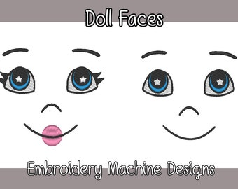 Doll Faces Machine Embroidery Designs for Ooak/DIY Dolls 7 Included! .PES Format