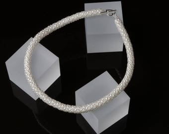 White Pearl and Silver Netted Necklace