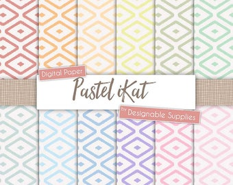 "iKat Digital Paper Pack - ""Pastel Rainbow"" -  Pastel iKat Tribal Pattern, ikat pattern, Indian pattern, ikat Background,Digital Scrapbooking"