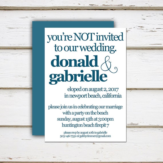 Wedding Reception Invitation Wording Funny: Printable Elopement Reception Invitation, You're Not