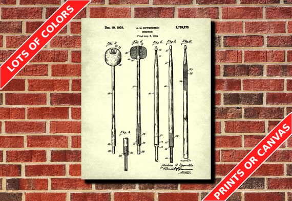 Drumsticks patent print drum sticks blueprint drummer gift like this item malvernweather Choice Image