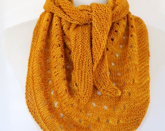 Bright gold merino wool triangle scarf, orange knit bandana, lightweight triangle shawl, openwork marigold wrap