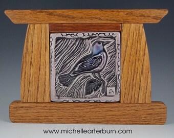 Framed Ceramic Tile - Robin in Purple, Craftsmen Style Tile, Art Tile, Ceramic, Tile, Home Decor, Artisan Tile
