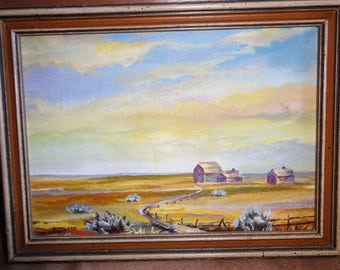 Small Oil Painting On Board/ Homestead/ Cloudy Sky/ Open Range/Signed