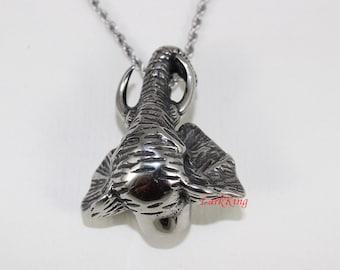 Stainless steel elephant necklace; elephant head necklace; animal necklace; elephant head pendant; nature necklace; men necklace; NE7039