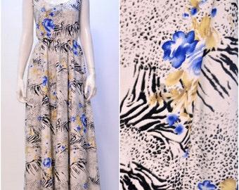 Summer Funky Retro Leopard Zebra Print Floral Maxi Dress White Onesize 10 12 14