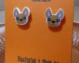 Chihuahua Illustrated Stud Earrings - Dog - Dogs - Puppy - Pet - Animal