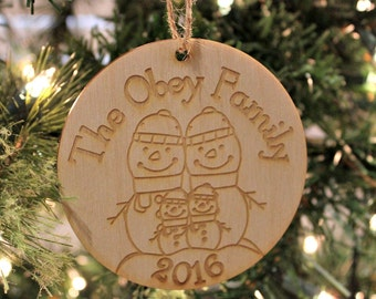 Snowman Family Ornament, Custom Family Name Christmas Ornament, Personalized Christmas Ornament, Christmas Tree Decor, Rustic Wood Ornament