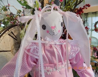 Beautiful hand made bunny rabbit stuffed doll with pink gingham cotton dress and pink apron