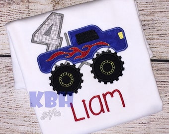 Embroidered Monster Truck Birthday Shirt