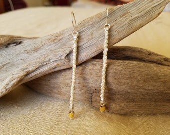 Pearl, silver, and gold vermeil earrings