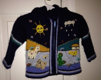 Hoodie Handmade in Peru toddler girls or boys sweater size 12 to 24 months with charming outdoor scene