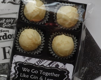 Retro Gin & Lemon Truffles - Personalised Gift For Valentines, Mothers Day, Fathers Day, Birthdays - 6, 8 or 12 Pack