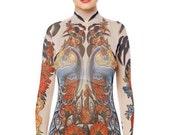 30% OFF SALE NEW! - Royal Peacocks Tattoo Bodysuit, Mesh Body, Tattoo Body, Womens Underwear, Peacocks Bodysuit for Women, Fake Tattoo, Hall