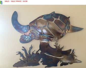Underwater Sea Turtle Metal Wall Art Decor
