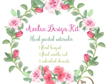 Azalea Flowers Design Kit Azalea Wreaths and bouquets images watercolor hand painted PNG transparent background for blog cards invitations