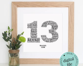 Personalised 13th ANNIVERSARY GIFT - Word Art - Printable Art - Unique Anniversary gift - 13th Wedding Anniversary Gift - Last Minute Gift