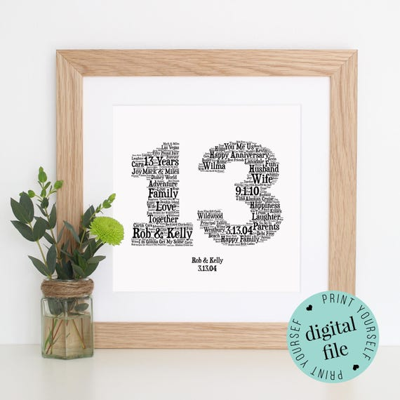 13th Wedding Anniversary Gift For Her: Personalised 13th ANNIVERSARY GIFT Word Art Printable Art