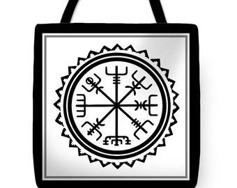 Viking Vegvisir Compass Folk Art Tote Bag -ReUsable Grocery Bag - Viking Vegvisir Pillow - Decorative Medieval Viking Vegvisir Throw Pillow