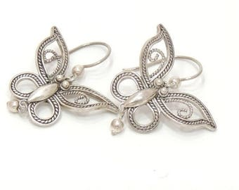 SILVER SALE Marked Sterling Silver Butterfly Earring Native Handcrafted