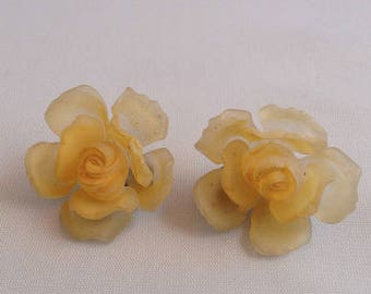 Yellow Rose Clip Earrings