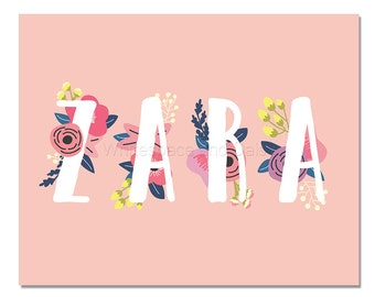 Zara Baby Name Wall Art Zara Baby Name Sign Zara Party Printable Zara Party Decorations Zara Art