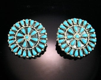 Gorgeous Turquoise and Sterling Needlepoint Earrings