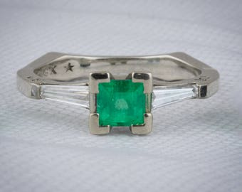 Muzo Emerald ring in 14k White Gold with Diamond Baguette Accents