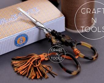 Embroidery Scissors Maison Sajou Tortoiseshell Flower Motif Model/Small Scissors/Sajou Shears/Embroidery Shears/Chenille/Beading/Knitters