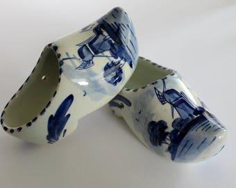 Delft Blue Clogs, Miniature Porcelain Dutch Shoes, Cobalt Blue and White Holland Shoe, Hand Painted, Decorative Mini Ceramic Planters